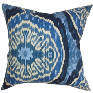 Overstock Iovenali Ikat Down Fill Throw Pillow Blue