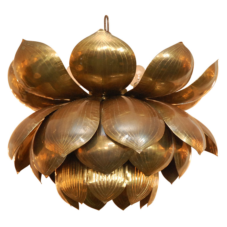 1st dibs brass lotus flower chandelier - First Dibs Home Decor