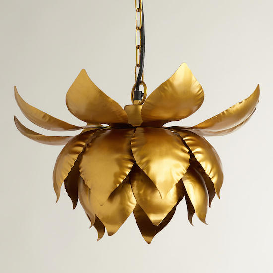 Cost Plus World Market Gold Lotus Hanging Pendant Lamp