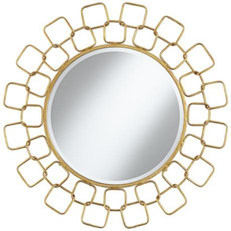"Lamps Plus Carasa Gold Antique 31 1/4"" Round Sunburst Wall Mirror"
