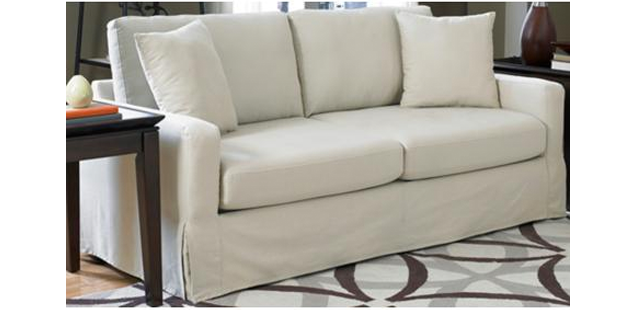 Lamps Plus SoFab Lily Ivory Slipcover Sofa
