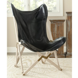 OVERSTOCK SAFAVIEH BUTTERFLY BLACK BI-CAST LEATHER FOLDING CHAIR