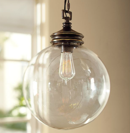 Pottery Barn Calhoun Glass Indoor Outdoor Pendant