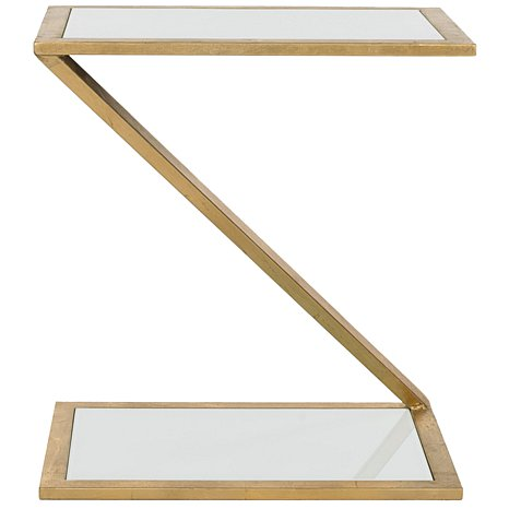 Zinc Door Andrea Accent Table Gold With White Glass Top