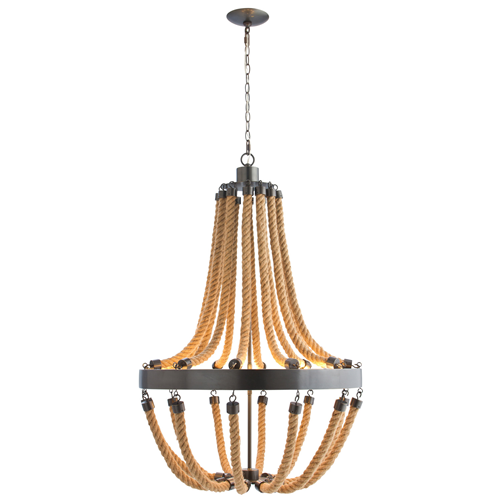 Arteriors Iron and Rope Chandelier