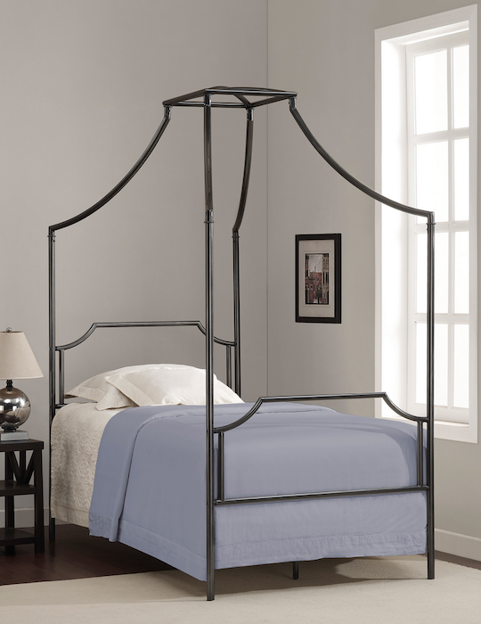 Elegant Overstock Bailey Twin Size Metal Canopy Bed