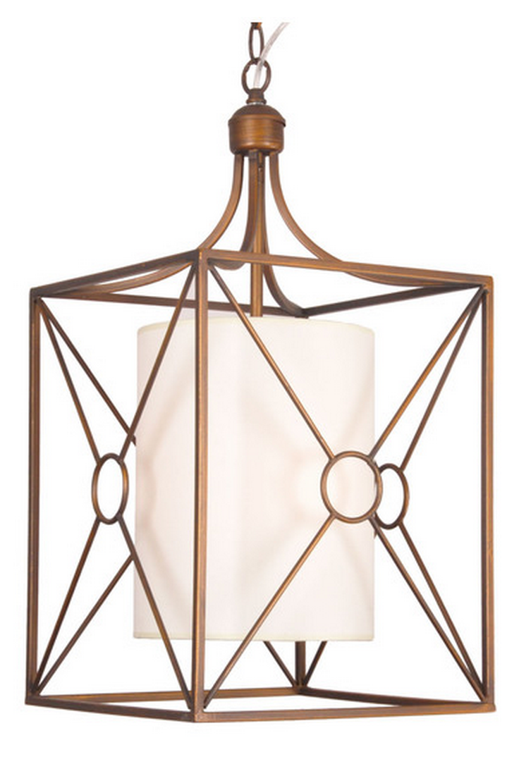 Overstock Josie Antique Copper Iron Chandelier with Fabric Shade