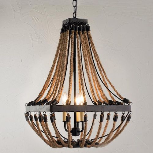 Shades of Light Nautical Rope and Bronze Square Chandelier