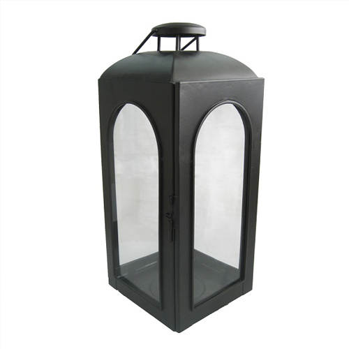Lowe's Allen and Roth Black Metal Pillar Candle Outdoor Decorative Lantern