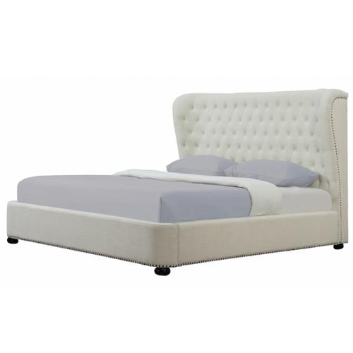 Overstock Finley Beige Linen Bed