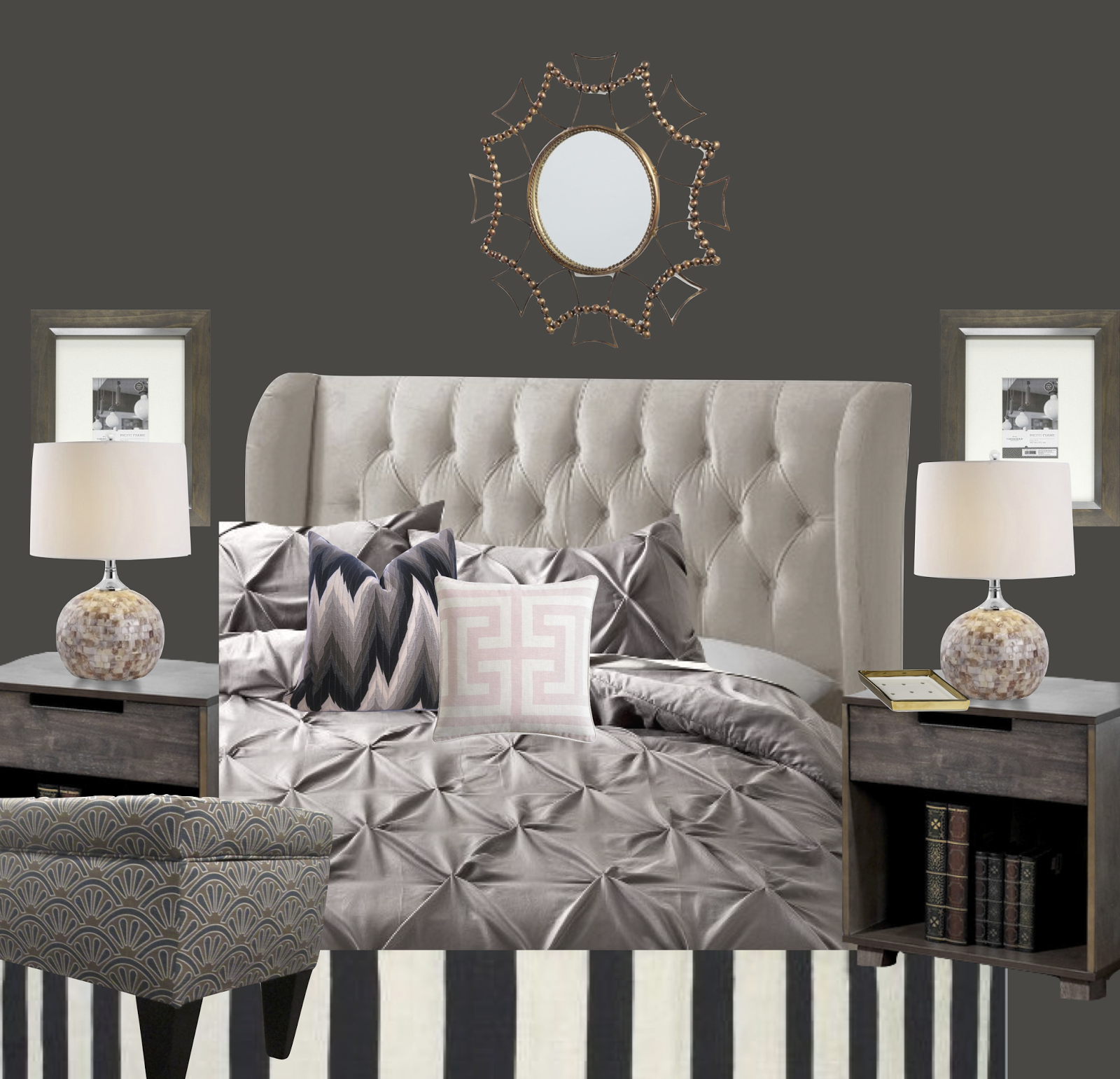 Bedroom Colour Grey Bedroom Wall Almirah Designs Green Bedroom Accessories Vintage Bedroom Accessories: Glamorous Gray Bedroom - Copycatchic
