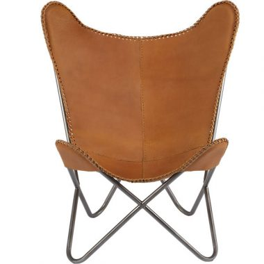 CB2 1938 Tobacco Leather Butterfly Chair