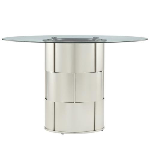 Overstock INSPIRE Q Elbridge Woven Drum Glass Dining Table