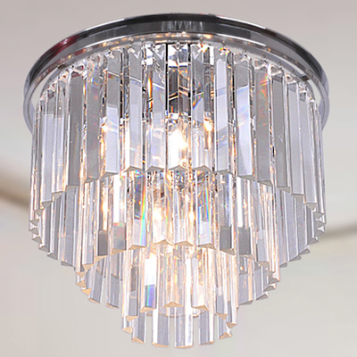 Cute Overstock Justina light Crystal Glass Prism tier Flush Mount Chandelier in Antique