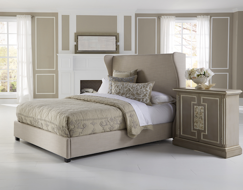 Overstock Wingback Cream Queen Size Upholstered Bed
