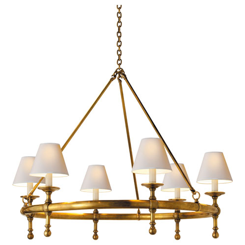 Visual Comfort SL5812 Studio Sandy Chapman 6 Light Classic Ring Chandelier with Natural Paper Shades