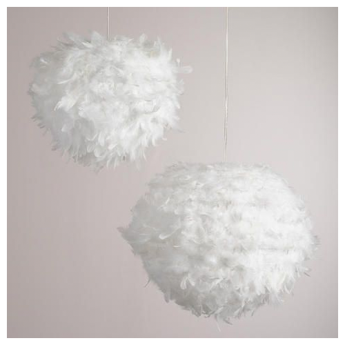 Cost Plus World Market White Feather Paper Lantern