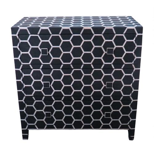 Overstock Black Honeycomb Design Bone Inlay 3-drawer Chest