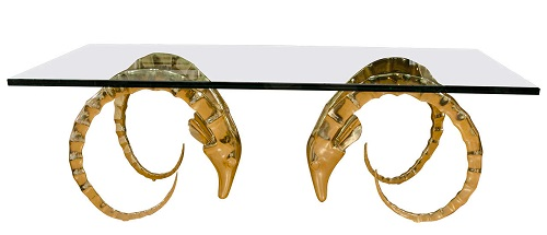 Brass Ram's Head Coffee Table