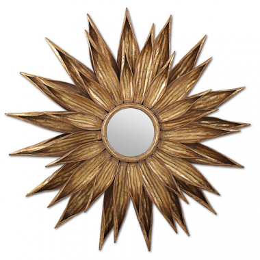 Two's Company Sunflower Hollywood Regency Antique Gold Wall Mirror