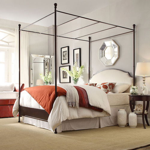 Overstock INSPIRE Q Andover White Curved Top Cherry Brown Metal Canopy Poster Bed : brown canopy bed - memphite.com