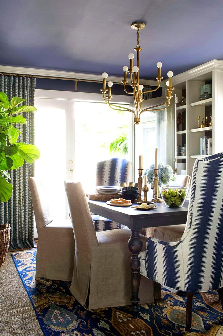 Copy Cat Chic Room Redo Layered Navy Dining Room