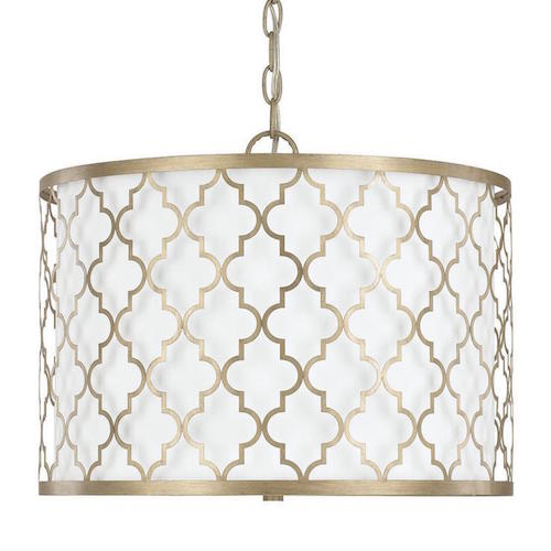 Overstock Ellis 3-light dual mount Pendant in Brushed Gold finish