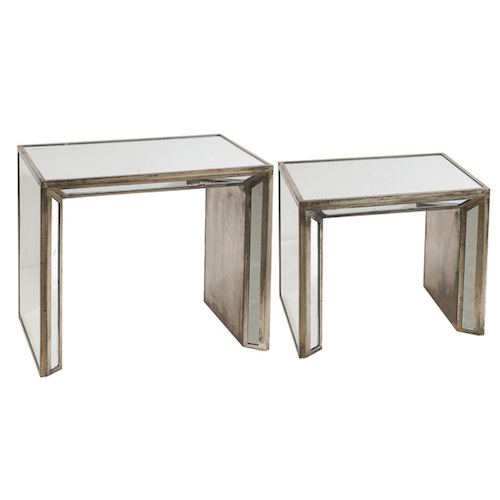 Overstock Joelle Wood And Glass Mirrored Nesting Tables (Set Of 2)