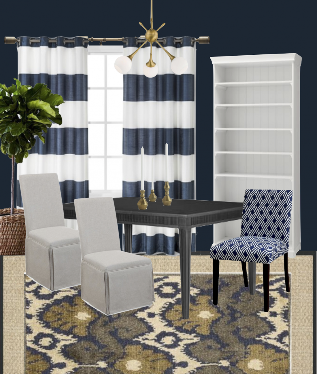 my favorite item though has got to be the brass chandelier which gives this mostly traditional room a modern edge try it in your home for an instant - Navy Dining Room Chairs