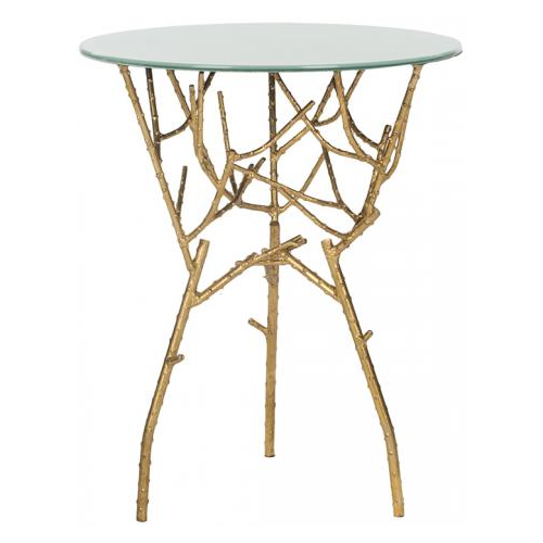 Safavieh Tara Iron and Glass Accent Table in Gold and White