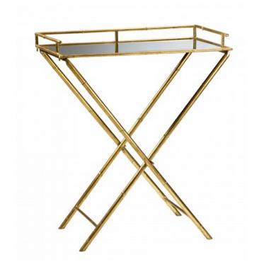Lulu & Georgia Golden Metallic Bamboo Tray Table