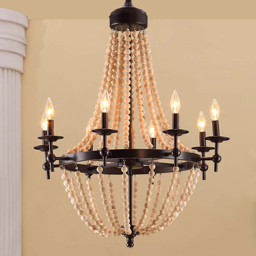 Popular Overstock Sonoma Natural Beaded Black light Chandelier
