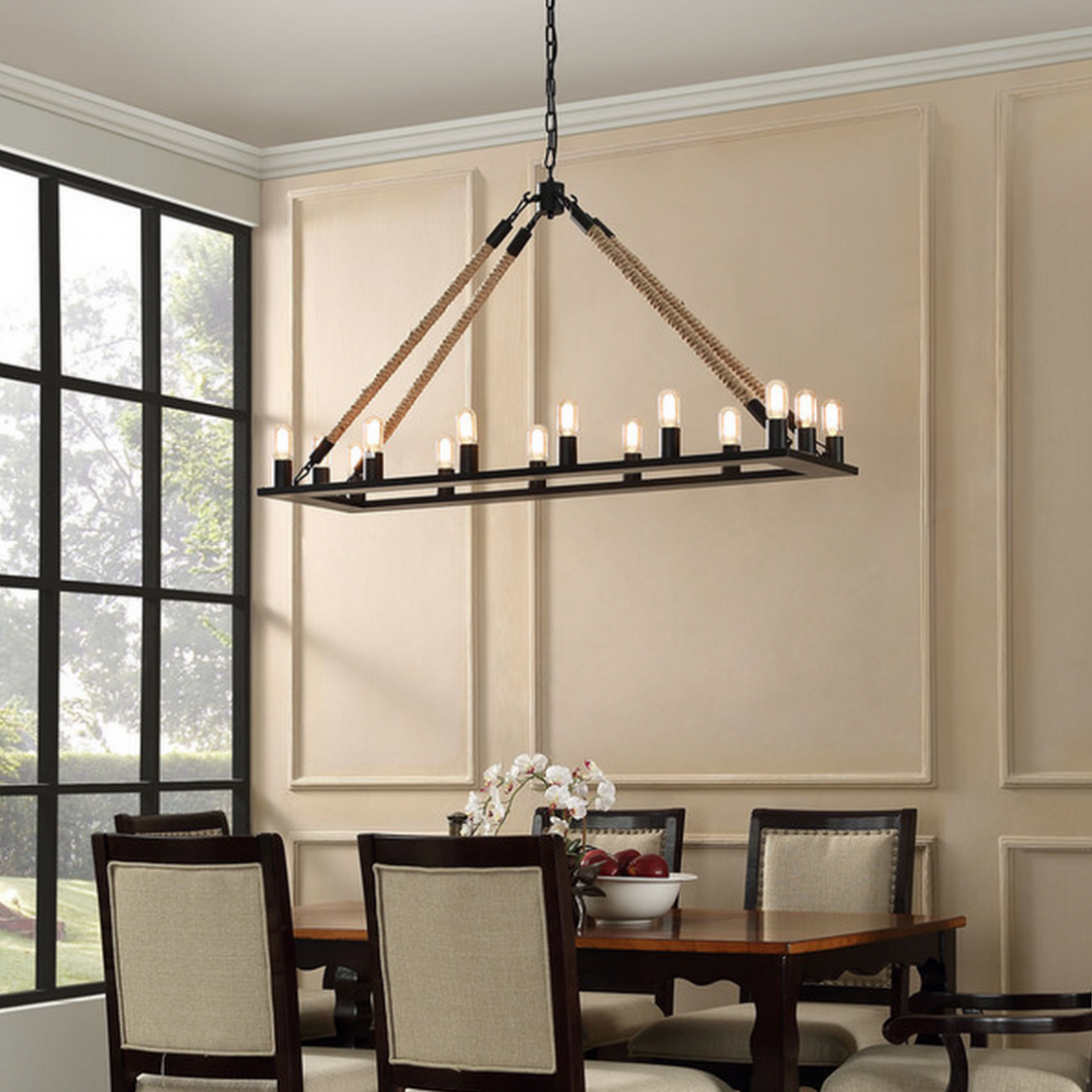 Restoration Hardware Rope Filament Rectangular Chandelier