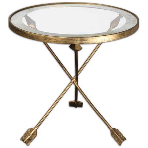 Domino Arrow Forged Iron Accent Table