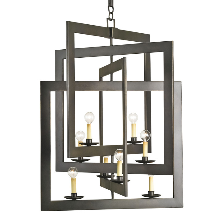 Currey & Company Modern Industrial Geometric Pendant Chandelier