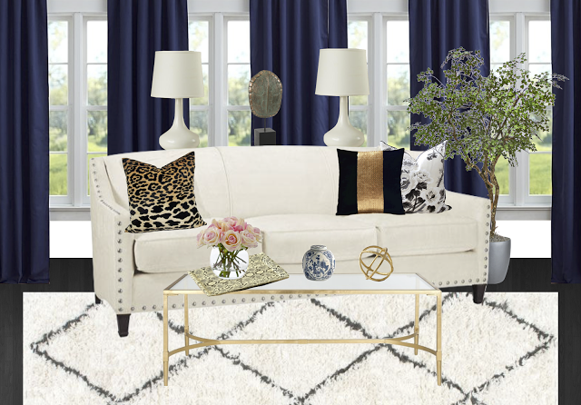 glamorous living room. The potted tree and fresh flowers  even the floral print pillow add always needed natural touch making for a space that s glamorous without Copy Cat Chic Room Redo Eclectic Glam Living copycatchic