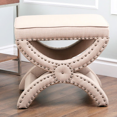 Restoration Hardware Toscane Upholstered Nailhead Stool 495 Overstock Abbyson Living Radiant Beige Fabric Trim Ottoman