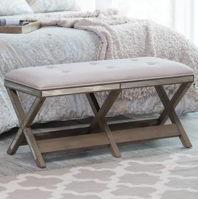 Hayneedle Belham Living Glam Upholstered Bench with Mirrored Frame