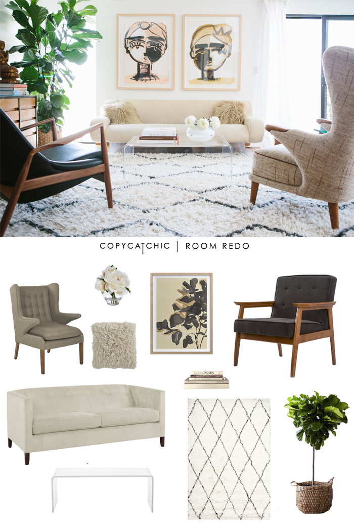 Copy cat chic room redo cozy mid century living room - How to redo a living room under 100 ...