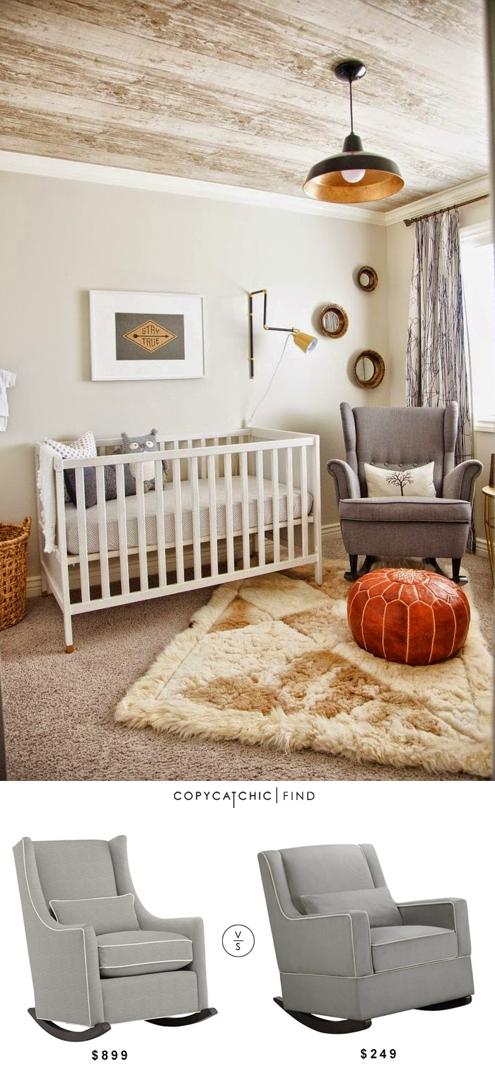 grey upholstered nursery rocking chair