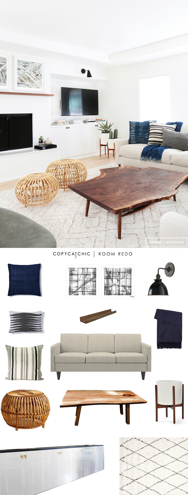Copy Cat Chic Room Redo | Cool and Calm Living Room