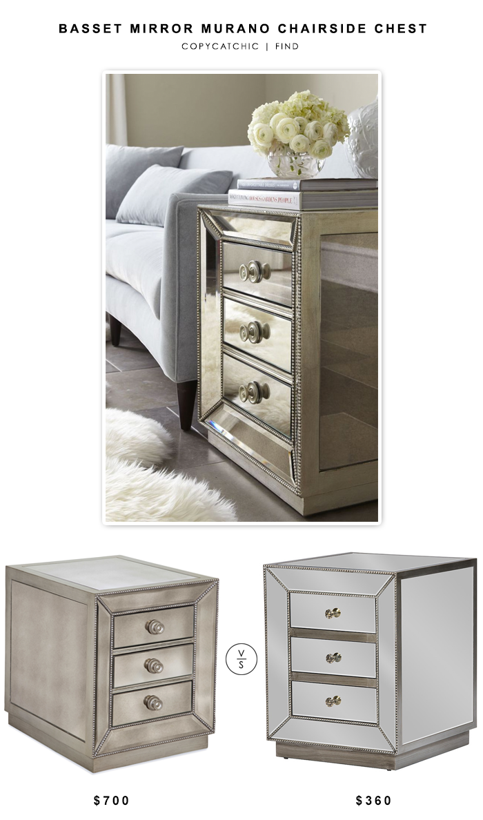 Wayfair Bassett Mirror Murano Chairside Chest $700 vs Overstock Currin Contemporary Mirrored 3-Drawer Nightstand $360