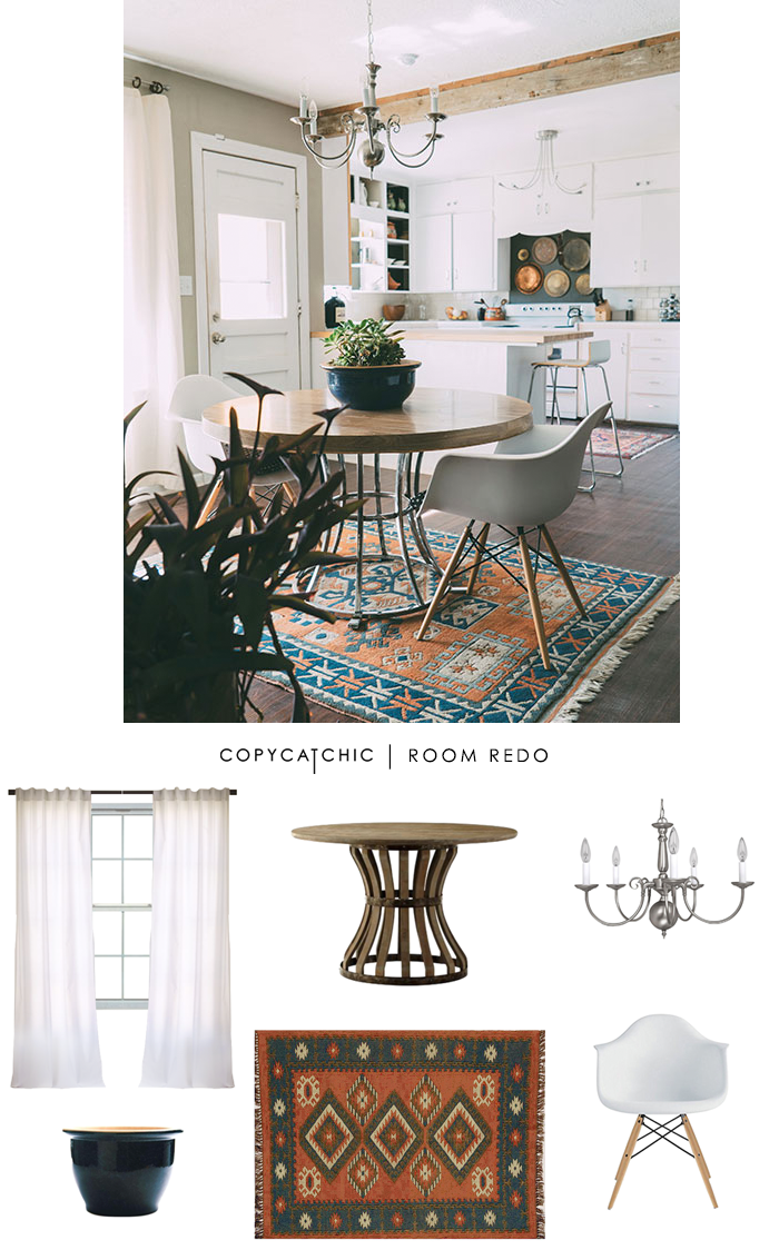 A Boho Chic eat in kitchen dining area featured on Design Sponge and recreated for only $1000.