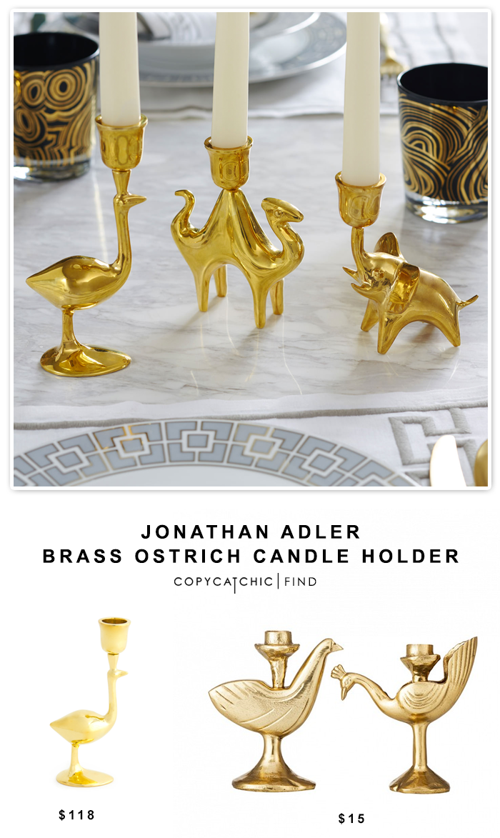 Jonathan Adler Brass Ostrich Candle Holder