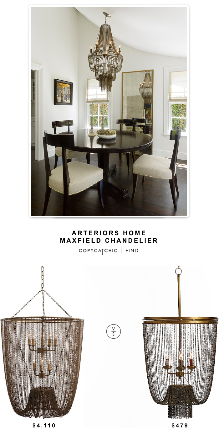 Arteriors Home Maxfield Chandelier $4,110 vs Pottery Barn Atherton Chainmail Chandelier $479