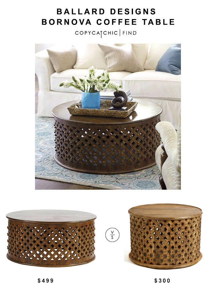 Ballard Designs Bornova Coffee Table $499 vs Cost Plus World Market Tribal Carved Coffee Table $300