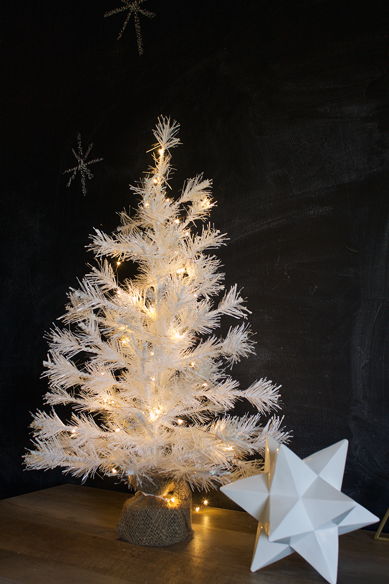 Copy Cat Chic #Fiveforfifty Urban Outfitters White Tinsel Tree and Firefly String Lights