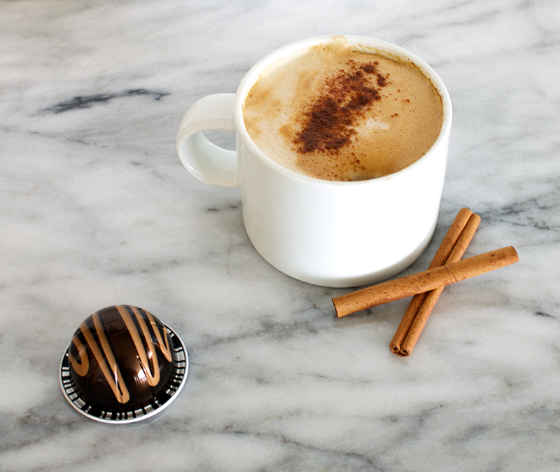 Vegan Starbucks Eggnog Latte copycat with Nespresso Limited Edition Swiss Chocolate