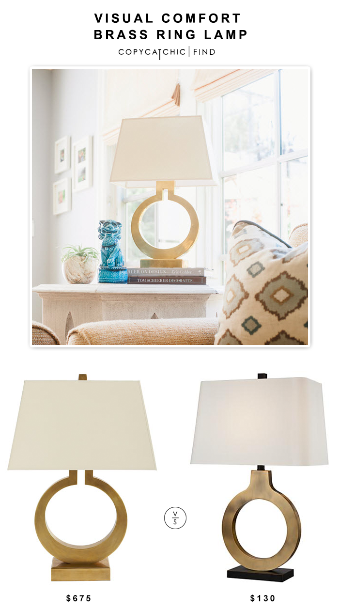 Visual Comfort Brass Ring Lamp $675 vs Possini Euro Ivan Brass Ring Table Lamp $130