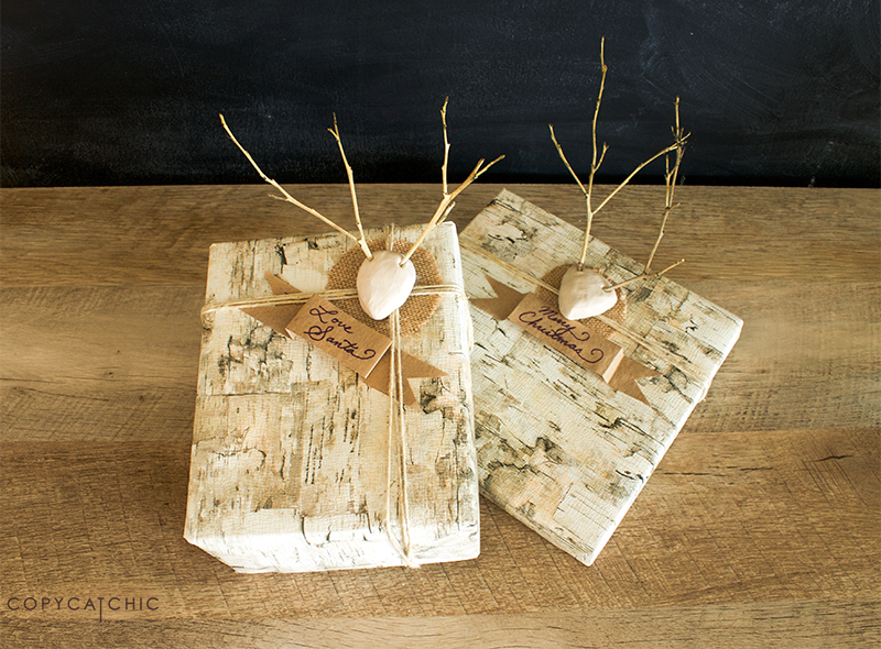 Copy Cat Chic Mini Twig Antlers with birch wrapping paper, burlap and twine